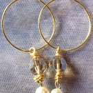 Champagne and Pearl Gold Hoops
