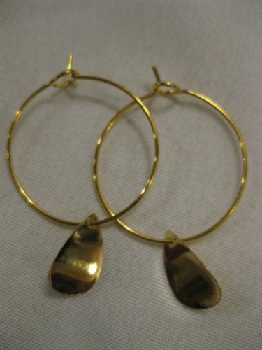 Gold Teardrop Gold Hoop Earrings