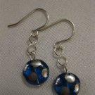 Blue and Silver Polka Dot Earrings