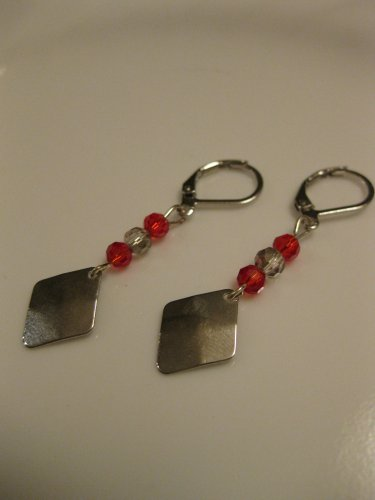 Silver Diamond Pendant with Red & Silver Swarovski Crystal Earrings