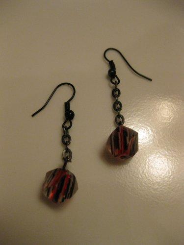 Red/Black/White Dangle Earrings on Black Chain