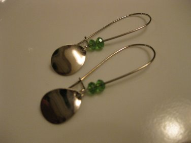 Long Teardrop Charm Earrings with Green Swarovski Crystals