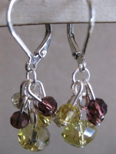 Burgundy and Yellow Swarovski Cluster Earrings