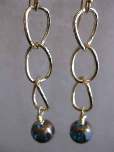 Gold Link Chain with Teal Bead Earrings