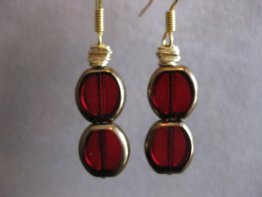 Red and Gold Bead Earrings
