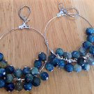 Blue Agate Hoop Earrings