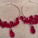 Red Swarovski Cluster Earrings on Sterling Silver Hoops