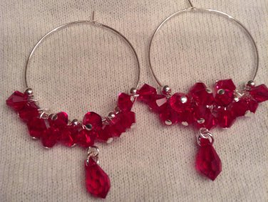Red Swarovski Cluster Earrings on Sterling Silver Hoops