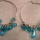 Teal and Silver Swarovski Sterling Silver Hoop Earrings
