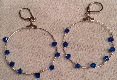 Twisted Blue Swarovski Crystal Hoop Earrings