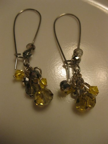 Yellow and Grey Swarovski Long Cluster Earrings