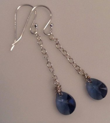 Sterling Silver & Montana Blue Teardrop Earrings