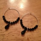 Sterling Silver & Swarovski Black Hoop Earrings