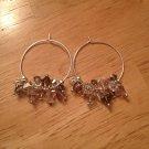Swarovski Mixed Pink/Grey/Crystal Sterling Silver Hoop Earrings