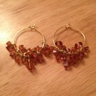 Swarovski Burnt Orange & Gold Plated Hoop Earrings