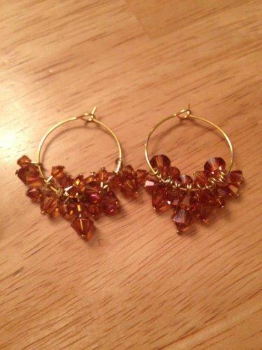 Swarovski Burnt Orange & Gold Plated Hoop Earrings