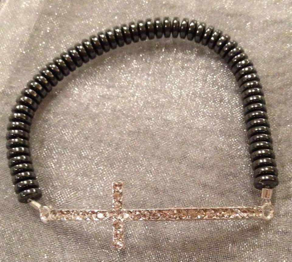 Silver Rhinestone Cross and Hematite Beaded Stretch Bracelet