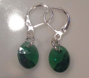 Emerald Green Swarovski & Sterling Silver Drop Earrings