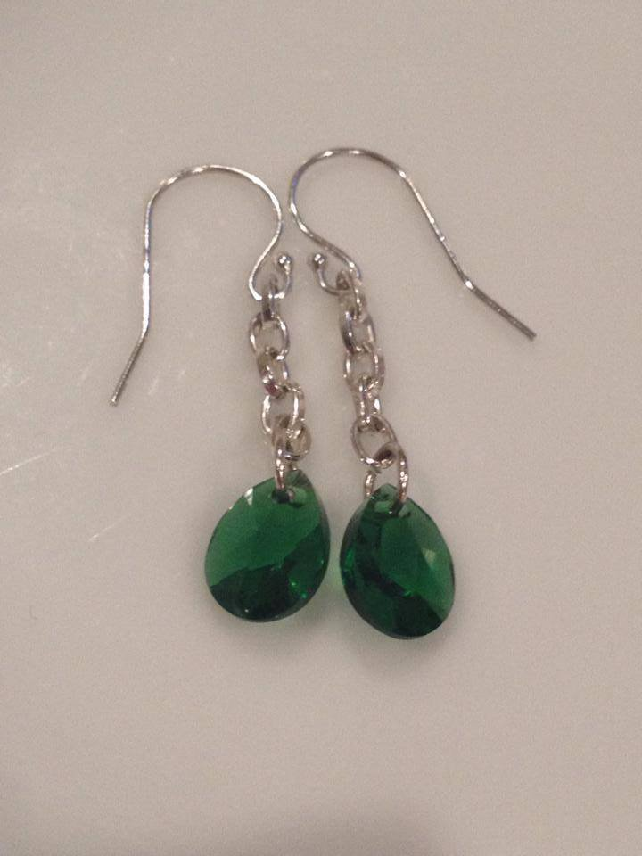 Emerald Green Swarovski & Sterling Silver Chain Earrings