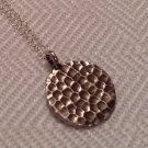 Sterling Silver Hammered Round Disc Necklace