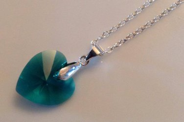 Emerald Swarovski Heart Necklace