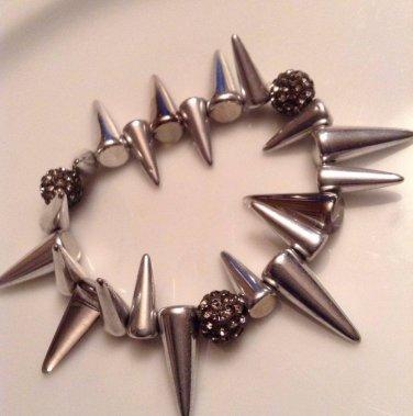 Silver Metallic Spike Bracelet