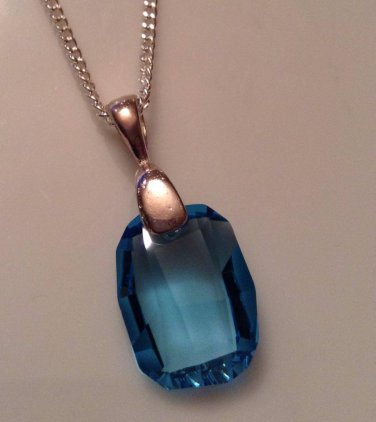 Aquamarine Swarovski Rectangle Necklace
