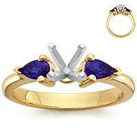 18k Gold Pear-Shaped Sapphire Setting