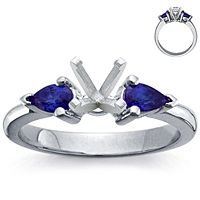 Platinum Pear-Shaped Sapphire Setting