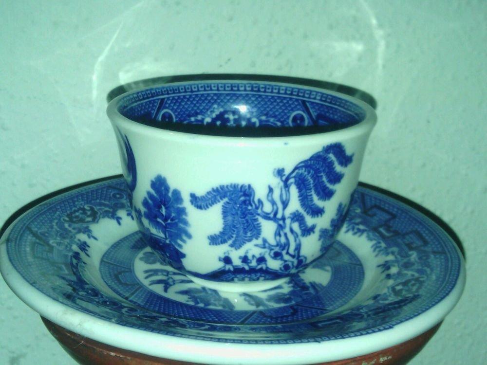 SHENANGO CHINA USA 43**RARE BLUE WILLOW TEACUP & SAUCER SET INTERPACE H-27