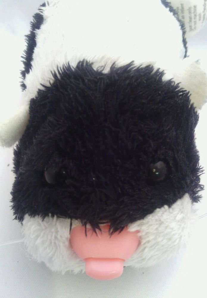 ZHU ZHU PETS**CLEAN**COLLECTABLE** BLACK & WHITE*TALKS  & DON'T WALK*STIFF FEET