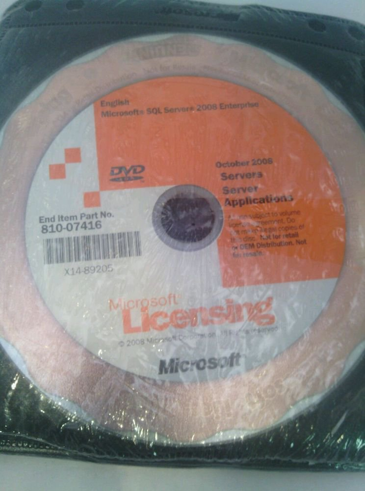 NWOB*SEALED*MICROSOFT SQL SERVERS 2008 ENTERPRISE*OCTOBER 2008 SERVERS*MEDIA SET