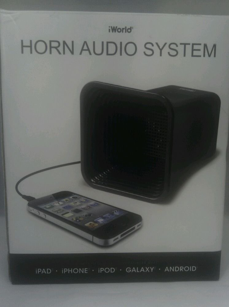NEW OTHER**IWORLD HORN AUDIO SPEAKER SYSTEM for IPHONE IPOD IPAD  GALAXY ANDROID