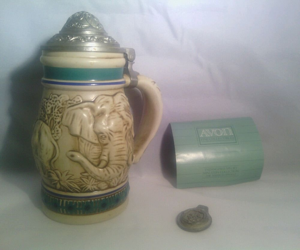 ENDANGERED SPECIES: THE ASIAN ELEPHANT AVON COLLECTABLE STEIN MUG BRAZIL 1990