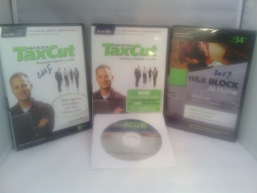 H & R BLOCK TAX CUT PREMIUM 2006-2008 (AT HOME 2009 NEW) (4 DVD BUNDLE)