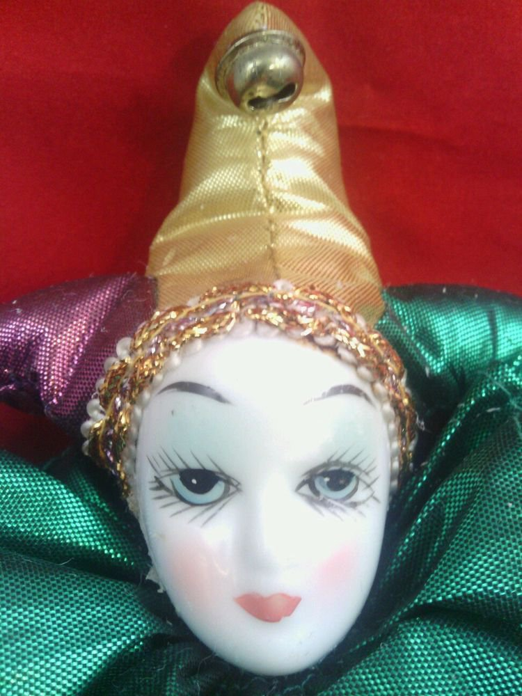 GC**PORCELAIN CLOWN DOLL*GREEN & GOLD**PORCELAIN HEAD, HANDS, LOWER LEGS, & FEET