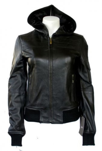 "Women's Hooded Leather Jacket style 14F Size ""Small"" Color Black"