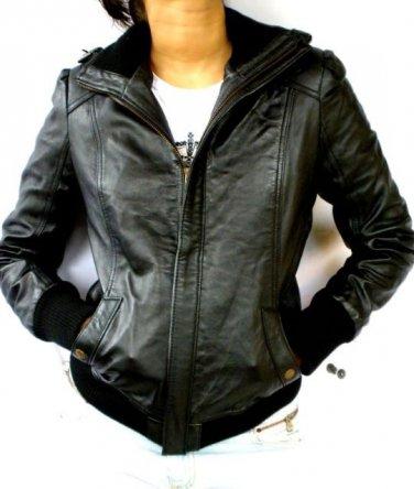 "Women's Bomber Leather Jacket Style 4FP size ""M"" Color Black"