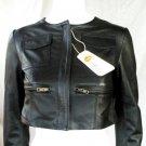 Women's Crewneck Cropped Jacket Style 2600 Size Large Color Black