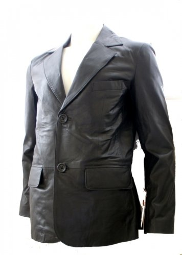 Men's 2 Button Classic Leather Blazer Style M80 Color Dark Brown Size 2XL