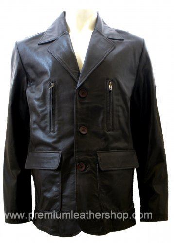 Men's 3 Button Leather Blazer Jacket Style M26 Size Medium Color Black