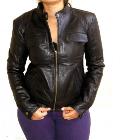 "Women's Bomber Leather Jacket Style 28F Size ""M"""