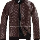 Men's Quilted Diamond Stitch Leather Jacket Style M27