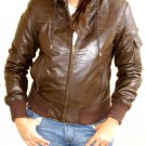 "Women's Hooded Leather Jacket style 14F Size ""S"" Color Brown"