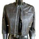 "Women' s Cropped 3/4 Sleeve Leather Jacket Style 3700 Color Dark Brown Size ""M"""
