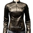 NWT Women's Mandarin Collar Quad Pocket Leather Jacket Style FS-168 Made to Measure