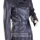 NWT Women's 4 button Trench Leather Coat Style FS-156