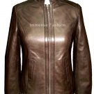 NWT Women's Chinese Mandarin Collar Leather Jacket Style FS-36