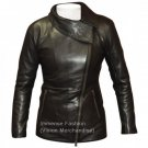 Women's Motor Cycle Trench Crossover Leather Jacket Style FS-50
