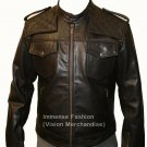 Men's Biker & Bomber Combination Styled Leather jacket Style MD-64
